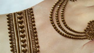 Beautiful back hand jewellery mehndi design | Navratri Easy simple stylish mehndi | Gol tikka mehndi