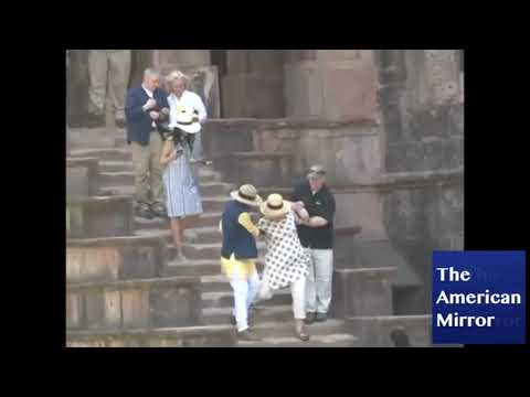 Hillary Clinton nearly falls down stairs in India -- twice!
