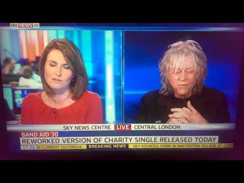 Bob Geldof swearing twice on Sky News