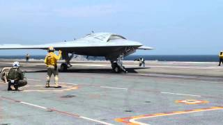 X-47B Completes First Carrier-based Arrested Landing