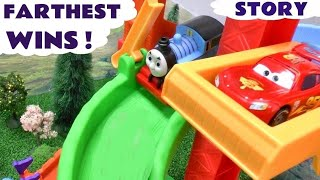Peppa Pig Play Doh Race Story with Thomas And Friends Trains and Disney Cars