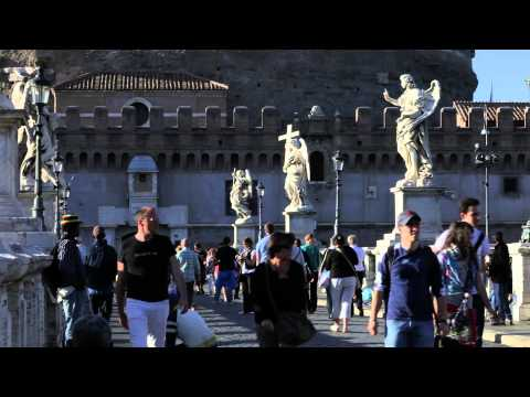 Tourists crowding the Ponte Sant'Angelo in Rome, Italy.