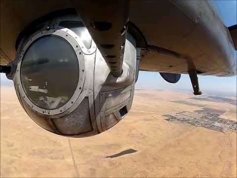 Operating ball turret in the Collings B-24J at Bomber Camp