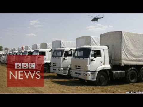 Ukraine crisis: Russian aid trucks 'almost empty' - BBC News
