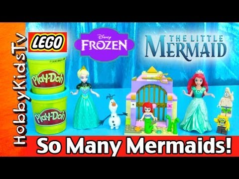 Too Many Ariels! Elsa FROZEN. PLAY DOH. Olaf. SpongeBob. Patrick. Disney Princess. HobbyKidsTV