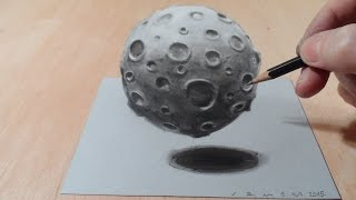 Art 3D Drawing, How to Draw 3D Moon, Artistic 3D Graphic