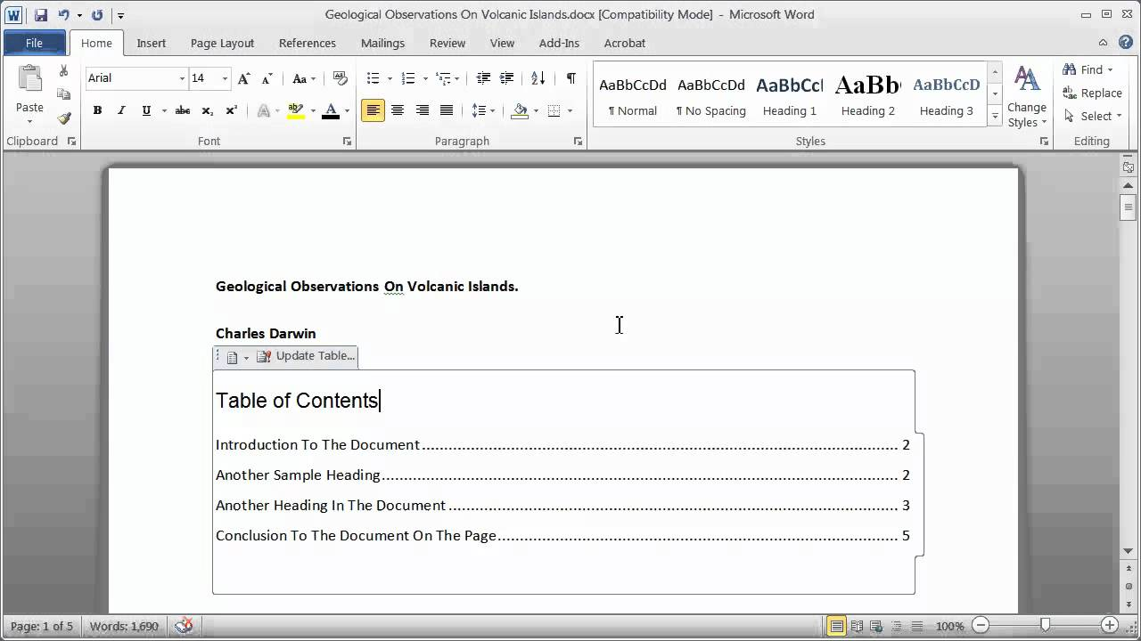 creating a table of contents in a word document
