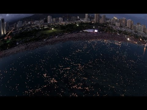 Lantern Floating Hawaii by Drone
