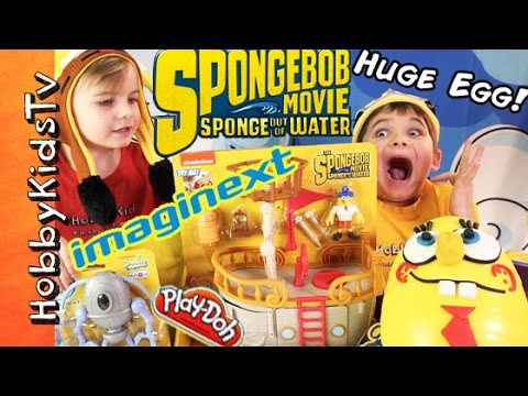 SpongeBob Out of Water MOVIE Mega Egg Imaginext Toys! Play-Doh. Chocolate Eggs Mashem by HobbyKids