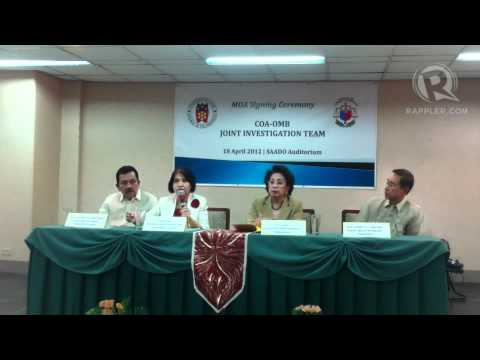 Commission on Audit chairperson Gracia Pulido Tan explains her agency's team-up with the Office of the Ombudsman, headed by Conchita Carpio Morales (beside h...