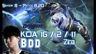 KZ BDD ZED vs GALIO Mid - Patch 8.20 KR Ranked