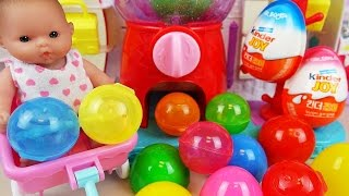 Baby Doll and Kinder Joy Surprise eggs - Shopkins and Poli Dispenser surprise toys