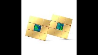 Mens Opal Cuff Links 14k Gold Big Square | FlashOpal