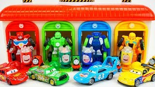 Tayo The Little Bus Garage Transformers Rescue Bots and Cars come to Play and Learn Colors!