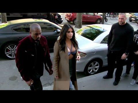 VERY DARING dress Kim Kardashian and Kanye West go to Montaigne Market in Paris
