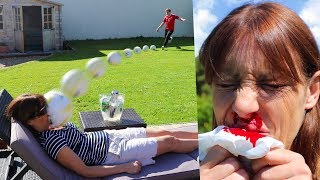 KICKING A FOOTBALL AT MY MUMS FACE!! (Broken Nose)