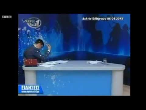 Greece Protesters Egg Newscaster on Live TV (News)