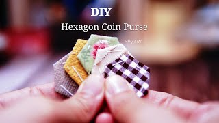 DIY Hexagon Coin Purse / Hand Stitch sewing project / 手縫い六角小財布