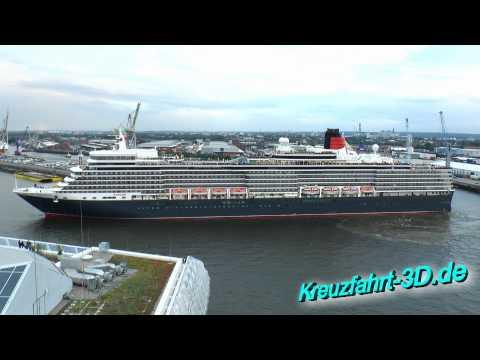 Queen Elizabeth Fahrt Hamburg Altona nach Hafencity zum Feuerwerk Cunard Day (Echtzeit HD / 2D)