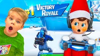 Our Elf Plays Fortnite Battle Royale! ❄️ (CAUGHT ON CAMERA!)