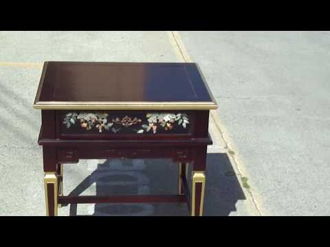 0 Chinese Jade Stone Inlay Side Table Stand Cabinet WK1923