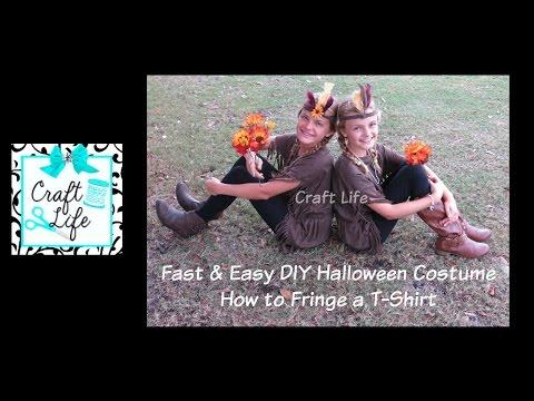 Fast & Easy DIY Halloween Costume ~ Native Princess ~ Pocahontas ~ How to Fringe a T-Shirt