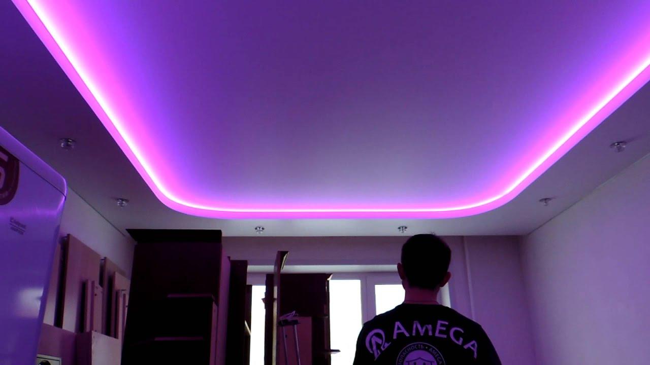 Как сделать 2 уровневый натяжной потолок с подсветкой