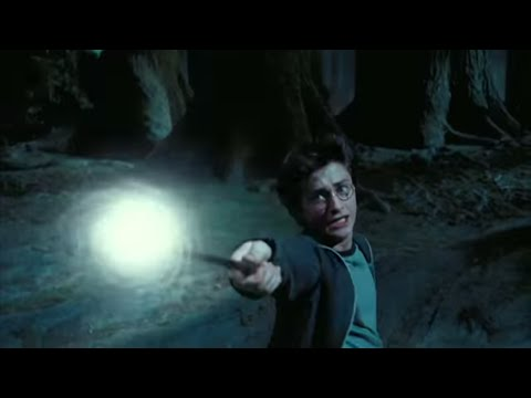 Harry casts the Patronus Charm.
