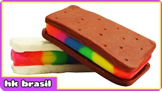 Massinha Arco Iris Sanduíche De Sorvete - Play Doh Rainbow Ice Cream Sandwich - Massinha Play Doh
