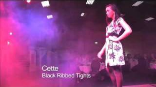 Model walks down the catwalk in tights by Cette!