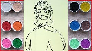Đồ chơi trẻ em, tô màu tranh cát công chúa Sofia - Colored sand painting Sofia princess (Chim Xinh)