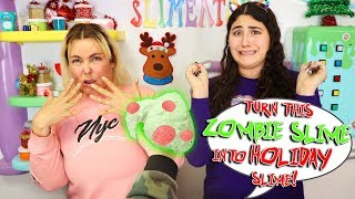 TURN THIS ZOMBIE SLIME INTO HOLIDAY SLIME Challenge! Slimeatory #618