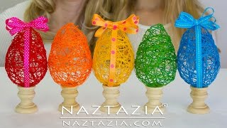 DIY - Learn How To Make a String Yarn Thread Egg - Easter Eggs Craft for Kids for Spring Tutorial