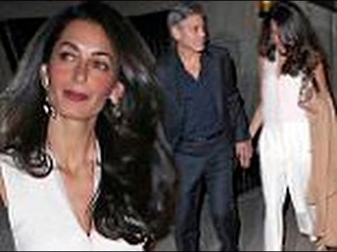 George and Amal Clooney look so in love as they hold hands after a double date