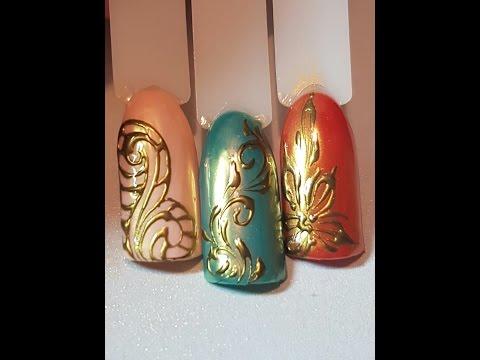 Дизайн ногтей с блестками и вензелями