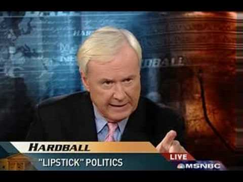 Chris Matthews Hardball: Questioning 'phony outrage' over lipstick (Part 1)