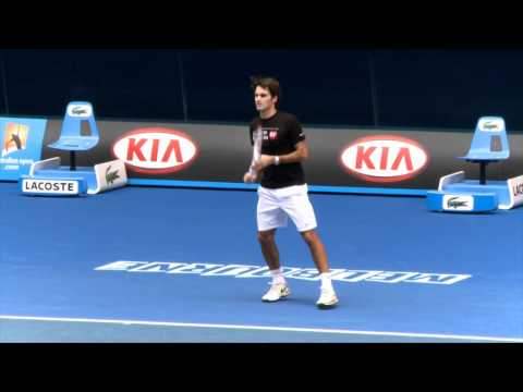 Roger Federer Practice Session: Australian Open 2012