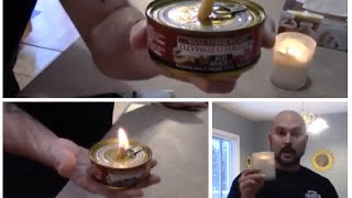 EMERGENCY CANDLE MADE FROM CAN OF TUNA! ( OIL LAMP)