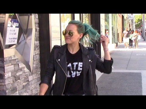 Hilary Duff Flaunts Blue Hair While Shopping Up A Storm In Beverly Hills