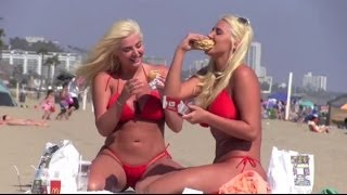 Kristina and Karissa Shannon Eat Burgers in Bikinis on the Beach