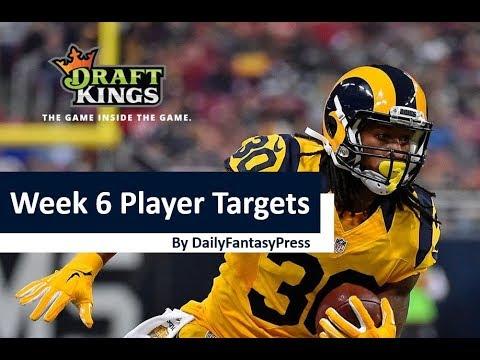 NFL Week 6 2017 Draftkings Picks
