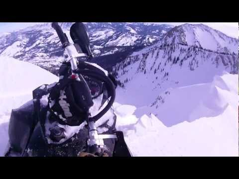 2012 ski doo summit X close call with cliff fall