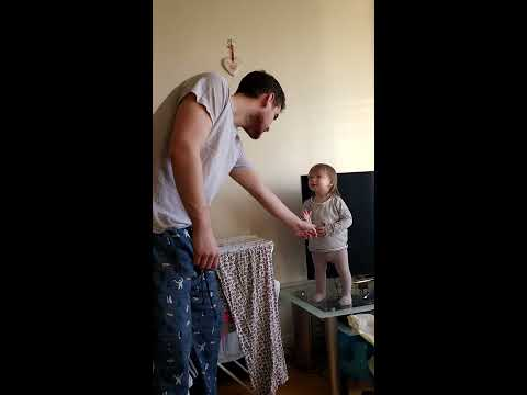 Adorable daddy/daughter standoff