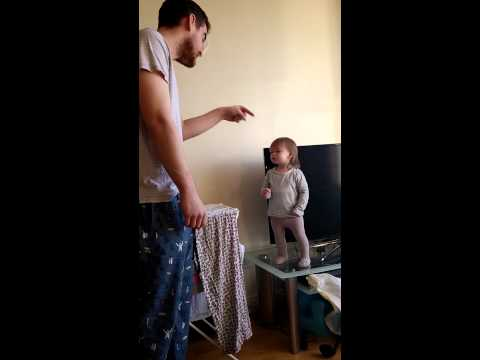 Irish toddler puts her dad in his place