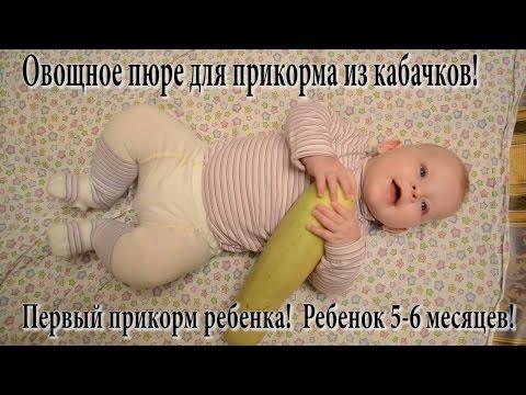 Первый прикорм ребенка (5-6 месяцев). Катя ест овощное пюре из кабачков, которое выбрала САМА!