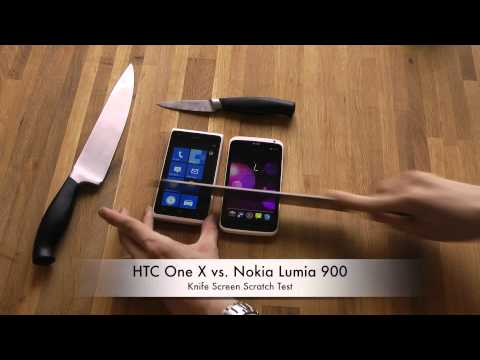 HTC One X vs. Nokia Lumia 900 - Knife Screen Scratch Test