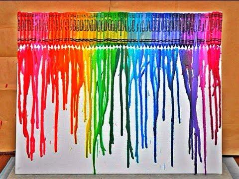 Diy crayon melting art youtube for Crayon diy canvas
