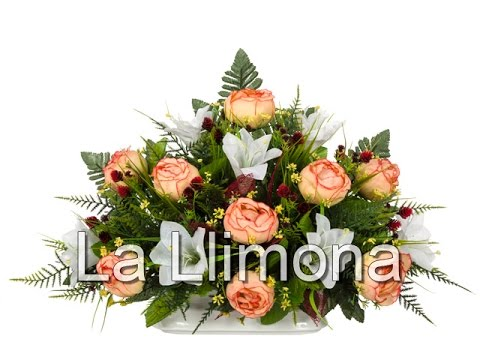 Arreglos florales artificiales jardinera cer mica rosas - Arreglos florales artificiales centros de mesa ...