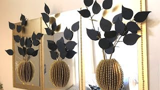 Diy Mirror Decor With 3D Decorative Flowers and Vase Using Dollar Tree Items!