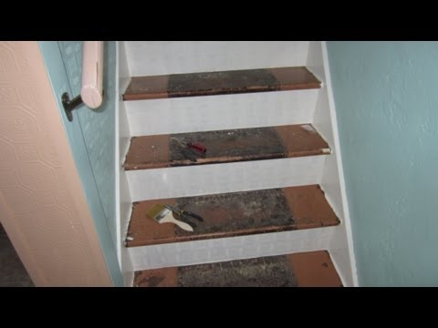 Facing Old Stair Risers With Textured Wallpaper Youtube